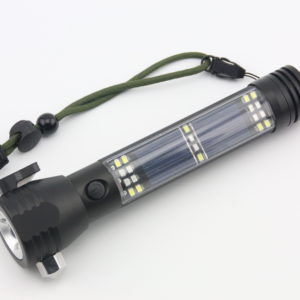 Solar powered emergency flashlight seatbelt cutter compass